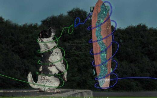 Hund und Longboard mit zerbrochenen Herz