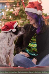 Weihnachtsbild von Hund und Halterin