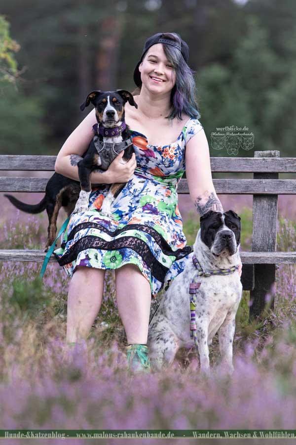 Frau mit kleinem und mittelgroßem Hund in der Heide